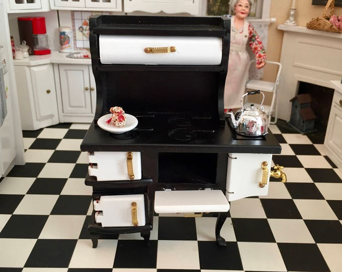 Featured listing image: Miniature Penn Dutch Vintage Style Stove, Dollhouse Miniature, 1:12 Scale, Dollhouse Kitchen Stove, Mini Stove, Crafts, Topper, Decor