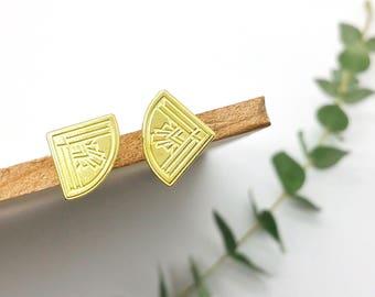 Gatsby Fan Brass Post Earrings // LanaBetty // Art Deco