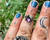 RESERVED for Stacey - Shooting Star Flower Midi Ring - Size 3 - Sterling Silver - You Choose Your Stone - Amethyst - Turquoise - Rose Quartz