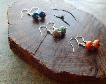 Sea sediment jasper earrings - sterling silver earrings - petite dangle earrings - colorful stone jewelry -  orange - royal blue - sand
