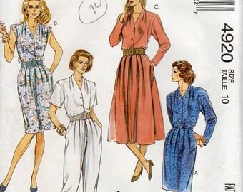 1990s Shirtwaist Shirtdress Jumpsuit Pattern - Vintage McCall's 4920 - Size 10 UNCUT FF