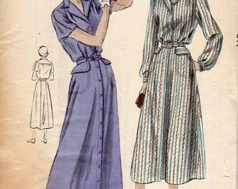 1940s Sportswear Shirtdress Pattern - Vintage Vogue 6646 - Bust 44 FF