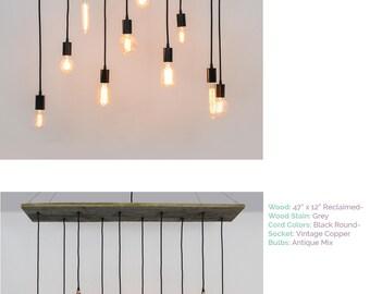Pendant Light Reclaimed Wood Chandelier   Grey Rustic Chandelier   Urban  Chandelier   Modern Wooden Dining