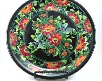 Floral Platter - Round Black Ceramic Porcelain Handmade Dinner Place Setting Plate in Classic Red Flower Design
