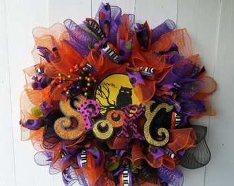 Deco Mesh Halloween Wreath,  Fall Wreath, Welcome Wreath,  Halloween Decor, Front Door Wreath