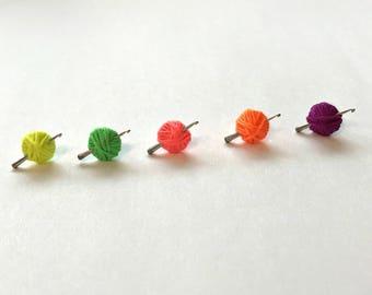 Crochet Hook Earrings, Neon Yarn Ball, Crochet Gift, Mini Hook, Crochet Jewelry, Neon Yellow, Neon Green, Hot Pink, Neon Orange, Neon Purple