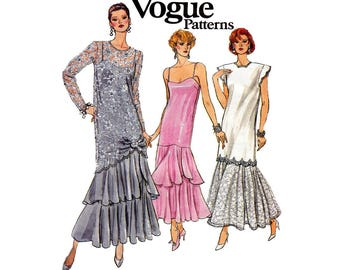 Vogue 9782 Womens Drop Waist Dress & Tunic 80s Vintage Sewing Pattern Bust 31 1/2 - 34 inches Size 8 10 12