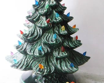 Vintage Ceramic Christmas TabletopTree. Retro Christmas Kitsch Holiday Decor.  18 inch Tree. Holly Berry Base.