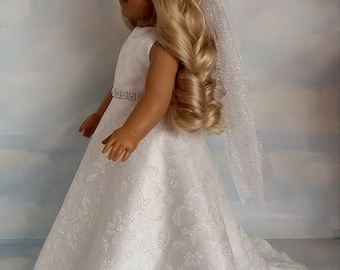 18 inch doll clothes -  Sparkly Wedding Gown and Veil - FREE SHIPPING USA
