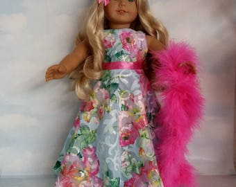 18 inch doll clothes - #250 Floral Sequin Gown handmade to fit the American girl doll - FREE SHIPPING