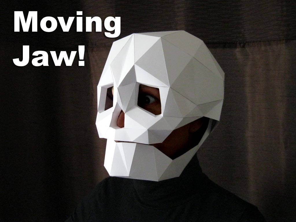 Skull Mask with Moving Mouth - Low Poly Mask Pattern Uses Just ...