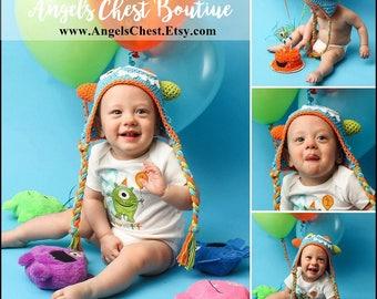 CROCHET MONSTER HAT by AngelsChest  Sizes Newborn, 0-3 months, 3-6 months, 6-12 month, 12-24 months, Kid, Teen, Adult - Photo prop - Cute