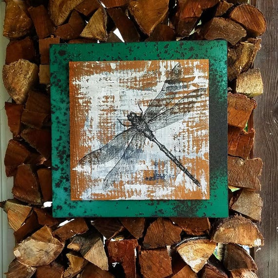 Dragonfly original acrylic painting on repurposed wood and metal