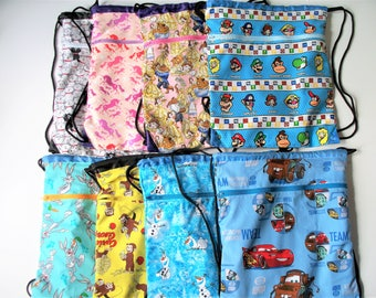 Fabric Covered,Nylon Lined,Drawstring Backpack,Your Choice; Curious George,Bugs Bunny,Cars,Olaf,Cats,Mario & Luigi,Unicorns,Beauty the Beast