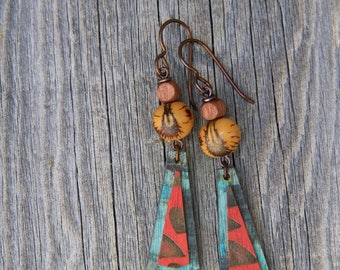 HAPPY / Wood Earrings / Women's Jewelry / Gifts For Her / Sustainable / Earrings / Acrylic Painting / Art / Art Jewelry