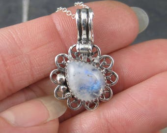 Blue Sheen Moonstone - Little Sterling Silver Filigree Charm with Chain - Moonstone Necklace