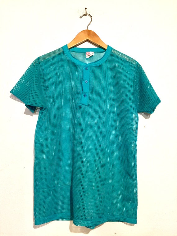 Teal Green Mesh Henley