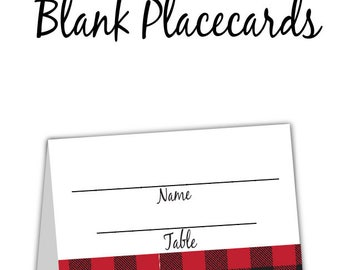 Lumberjack 1st Birthday or Baby Shower Red Black Buffalo Plaid Placecards, Blank or Personalized with Your Guests' Names