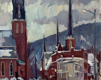 Winter Steeples, St Francis Church, North Adams. Realist Oil Painting on Panel, 12x24 Impressionist Landscape, Signed Original Fine Art