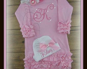 Baby girl coming home outfit, Personalized, baby gown, monogram, name, baby hat, bring home outfit, hospital gown, take home outfit, shower