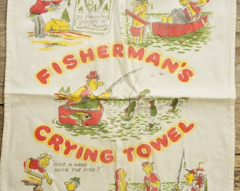 Vintage 50s-60s Fisherman Print Towel/Retro/Mid Century/Fishing