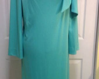 Vintage 70s Henry Lee Mint Green Disco Boat Bow Neck Long Polyester Dress L