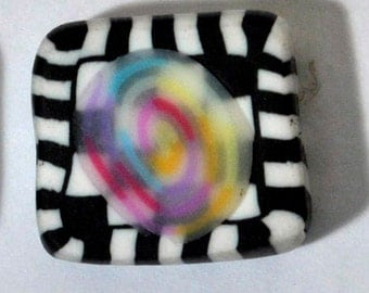 Polymer Clay Beads - 4 Funky Striped