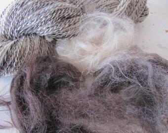 Wabi Sabi Art Yarn, Textured Blended Handspun Llama Sheep Wool Yarn, Natural White Smoky Dark Gray Knitting Crochet Weaving Fiber Art Yarn