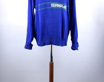 1980's Pro Line Seattle Seahawks Cliff Engle Sweater, Size XL, 100% Cotton