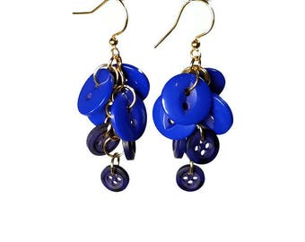 Navy Blue Dangle Earrings, Summer Dangle Earrings, Button Jewelry, Upcycled Jewelry
