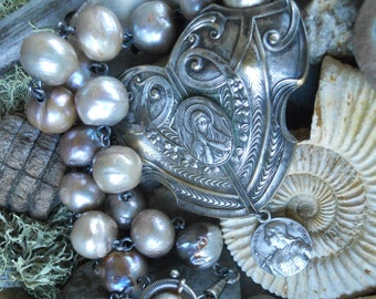 Warrior of Faith              Joan of Arc Baroque Pearl Assemblage Necklace