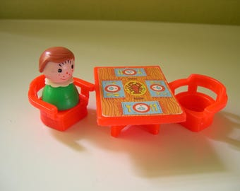 Vintage Fisher Price Little People Red Lobster Table with Chairs