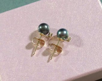 Tahitian Black Pearl Earrings 14k Stud Diamond Accent Yellow Gold 5.5 mm Black Pearls with 1 mm Diamond Accent Gift for Her Gorgeous Luster