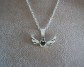 Heart with Wings Necklace, by Brendas Beading on Etsy