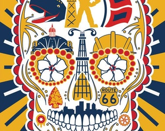 Historical Tulsa Sugar Skull 11x14 Print