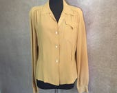 Vintage 1940's Blouse, Yellow 40's Shirt, Women's Size Small to Medium, Mustard Yellow Fitted Long Sleeve Blouse or Top, Bust 40