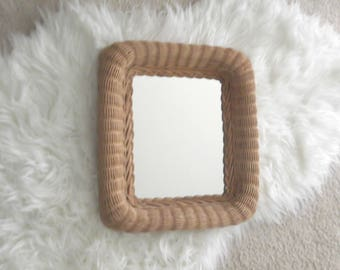 Vintage Wicker Mirror Bohemian Decor Rattan Wall Mirror Boho Chic Gift Woman