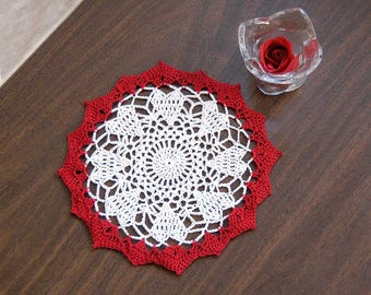 Circle of Hearts Crochet Lace Doily, Red and White Lace, Heart Doily, Romantic, Elegant Home Decor, 8 Inch Doily, Mother's Day Gift for Her
