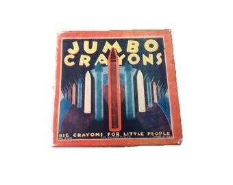 Rare 1925 Vintage Art Deco Jumbo Crayons Box Original Box Ullman Manufacturing Company USA Displayed in New York Historical Society Museum