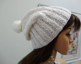 WHITE KNIT HAT,Sparkling yarn,  worsted weight , acrylic yarn, wide ribbed, ladies hat, slouchy style, with pompom
