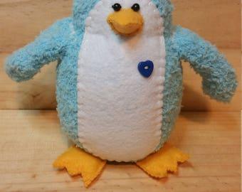 Flurry the penguin, handmade, sock animal, plush
