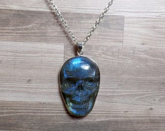 Labradorite Skull Necklace - Carved Gemstone Necklace - No. 2 - Free US Shipping