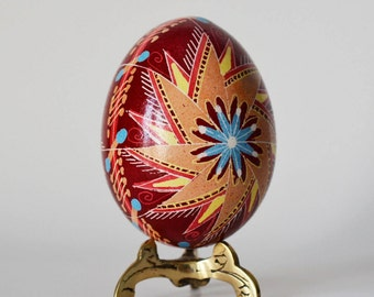 Easter Egg Ornament Burgundy Pysanka with windmills handmade in Canada artisan gifts for summer birthdays weddings anniversary engagement