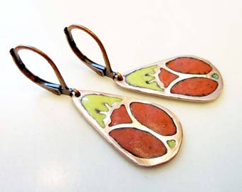 Ladybug Earrings, Champlevé Glass Enamel, Vintage Etched Copper, Insect Beetle Jewelry, Art Deco