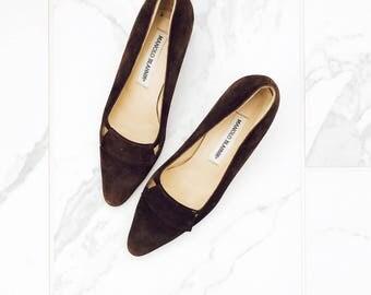 Vintage Suede Manolo Blahnik Heels/Vintage Designer Shoes