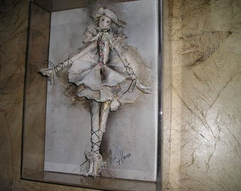 Exquisite French Female Ballet/Marionette Dancer Shadow Boxed.Wall Art Signed..