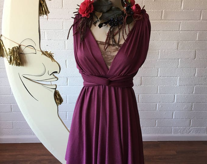 Sea Gypsy Berry ShortCircle skirt Octopus Infinity Convertible Wrap Dress~ Bridesmaids, Wedding, Bohemian