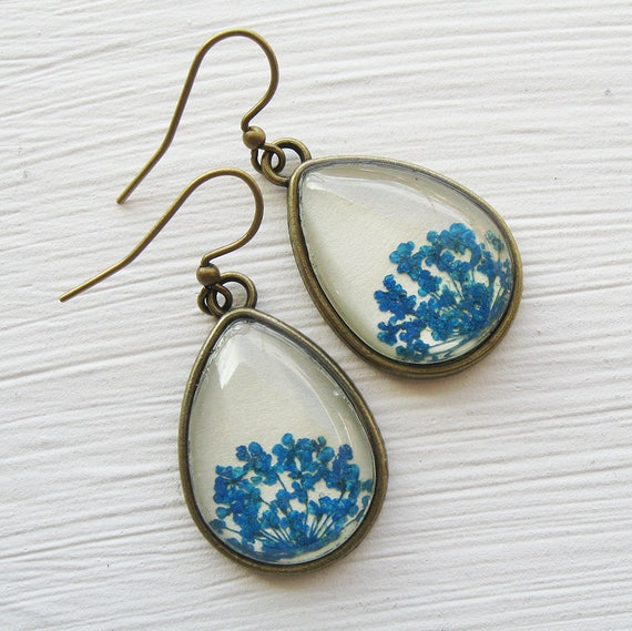 Real Botanical Earrings - Blue Antique Brass Teardrop Pressed Flower Earrings