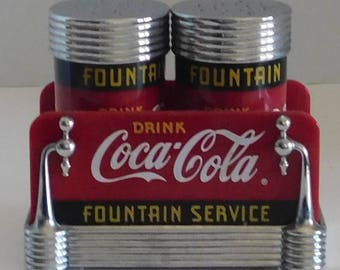 Coca Cola Salt and Pepper Shake set/Fountain Service