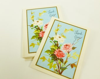 Thank You Notes Lot of 10 Unused Mid Century Greeting Cards Pink Roses Any Occasion